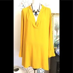 Eloquii Mustard Yellow Solid V-neck Long Sleeve